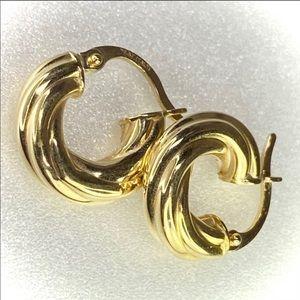 14K Gold Round Twist Hoop Earrings